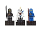 Gear No: 853102  Name: Magnet Set, Minifigs Ninjago (3) - Jay, Cole, Nuckal - Glued with 2 x 4 Brick Bases