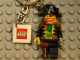 Gear No: 4224498  Name: Pirate Captain Key Chain with 2 x 2 Square Lego Logo Tile, Chain and Ring Attachment