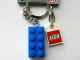 Gear No: 850152b  Name: 2 x 4 Brick - Blue Key Chain with Lego Logo Tile, Modified 3 x 2 Curved with Hole