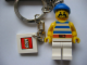 Gear No: 850301  Name: Pirate with Striped Shirt and Blue Bandana Key Chain with 2 x 2 Square Lego Logo Tile