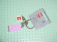 Gear No: 851024  Name: 2 x 4 Brick - Bright Pink Key Chain with 2 x 2 Square Lego Logo Tile