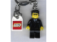 Gear No: 851538  Name: Agent Key Chain, Black Suit, Flat Top with Lego Logo Tile, Modified 3 x 2 Curved with Hole