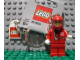 Gear No: 851658  Name: Racer Driver, Red with White Balaclava Key Chain with Lego Logo Tile, Modified 3 x 2 Curved with Hole