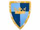 Gear No: 852007  Name: Shield, Gold Crown on Dark Blue, Medium Blue Quarters