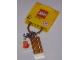 Gear No: 852445  Name: 2 x 4 Brick - Chrome Gold Key Chain with Lego 50 Year Anniversary Logo Tile, Modified 3 x 2 Curved with Hole