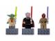 Gear No: 852555  Name: Magnet Set, Minifigures SW (3) - Yoda, Count Dooku, Mace Windu - with 2 x 4 Brick Bases