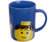 Gear No: 852675  Name: Food - Cup / Mug, Minifigure Head Male Pattern Blue