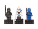 Gear No: 853102  Name: Magnet Set, Minifigures Ninjago (3) - Jay, Cole, Nuckal - Glued with 2 x 4 Brick Bases