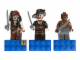 Gear No: 853191  Name: Magnet Set, Minifigs PotC (3) - Jack Sparrow, Barbossa, Gunner Zombie - Glued with 2 x 4 Brick Bases