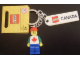 Gear No: 853307  Name: Minifigure Male with Maple Leaf Key Chain with Lego Logo Tile, Modified 3 x 2 Curved and Tile 2 x 4 with 'CANADA' Pattern