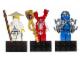 Gear No: 853404  Name: Magnet Set, Minifigures Ninjago (3) - Sensei Wu, Fangpyre, Jay - Glued with 2 x 4 Brick Bases