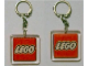 Gear No: KC094  Name: Lego Logo Both Sides on 5 x 5 Clear Plastic - Square Key Chain