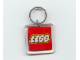 Gear No: KC094a  Name: Lego Logo Both Sides on 5 x 5 Clear Plastic - Square Key Chain (Old Style- No Extra Links)
