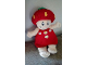 Gear No: LollyStrawberry  Name: Duplo Figure Little Forest Friends Plush, Female, Red Dress with Two White Flowers Down (Lolly Strawberry)