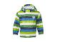 Gear No: joe203  Name: Jacket, Rain LEGO Tec with Light Blue, Dark Blue, Green, Neon Green, and White Stripes Boys (Joe 203)