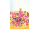 Gear No: lap02-026  Name: Postcard - Lego Art Project 2002 - 026 - Cook Minifigure and Red Parrot with 8 Bicycles