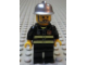 Gear No: magcty004  Name: Magnet, Minifigure City Firefighter - Reflective Stripes, Black Legs, Silver Fire Helmet, Gray Beard