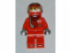 Gear No: magrace  Name: Magnet, Minifig Racer Driver - Red with White Balaclava, Red Helmet Decorated