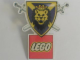 Gear No: pin004  Name: Pin, Knights' Kingdom I Lion Shield with Crossed Swords and LEGO Logo