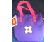 Gear No: tote01a  Name: Tote Bag Small, Scala with Pocket and Clip, Contrasting Flower and Straps, Purple