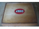 Gear No: wood11  Name: Wooden Storage Box with Plain Sliding Top and LEGO Logo in Red Oval