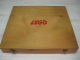 Gear No: wood13  Name: Wooden Storage Box Large (Double Latch) with Red LEGO Logo (no dogbone)