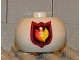 Gear No: bead003pb013  Name: Bead, Globular with Fire Logo Badge Pattern