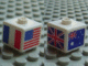 Gear No: bead004pb014  Name: Bead, Square with Flags from USA, France, Great Britain and Australia Pattern