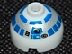 Gear No: bead017pb01  Name: Bead, Round 2 x 2 Dome Top with Silver and Blue Pattern (R2-D2)