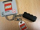 Gear No: 852098pb01  Name: 2 x 4 Brick - Black Key Chain with Lego Logo Tile, Modified 3 x 2 Curved with Hole and Engraved 'LEGOshop.com' Pattern