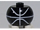 Gear No: bead003pb005  Name: Bead, Globular with Ball Pattern, Basketball Parabolic Lines White