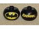 Gear No: bead003pb019  Name: Bead, Globular with 'BATMAN' and Batman Logo Pattern