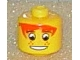 Gear No: bead006pb11  Name: Bead, Cylinder Large with Minifigure Head Pattern, Orange Bangs, Wide Eyes, Freckles