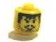 Gear No: bead006pb14  Name: Bead, Cylinder Large with Minifig Head Pattern, Moustache Smirk & Black Bangs, Striped Sideburns