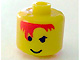 Gear No: bead006pb18  Name: Bead, Cylinder Large with Minifigure Head Pattern, Orange Bangs over One Eye, Smile