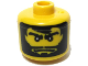 Gear No: bead006pb33  Name: Bead, Cylinder Large with Minifigure Head Pattern, Black Beard and Hair
