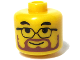 Gear No: bead006pb35  Name: Bead, Cylinder Large with Minifig Head Pattern, Glasses and Brown Beard