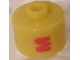 Gear No: bead029pb034  Name: Bead, Cylinder, Flat Edge with Red 'M' Pattern