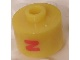 Gear No: bead029pb035  Name: Bead, Cylinder, Flat Edge with Red 'N' Pattern