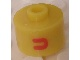 Gear No: bead029pb042  Name: Bead, Cylinder, Flat Edge with Red 'U' Pattern