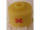 Gear No: bead029pb045  Name: Bead, Cylinder, Flat Edge with Red 'X' Pattern