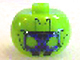 Gear No: bead003pb027  Name: Bead, Globular with Rectangular Blue Face and Hat Line Pattern
