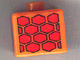 Gear No: bead004pb042  Name: Bead, Square with Red Tire Tracks Pattern on Four Sides