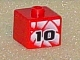 Gear No: bead004pb031  Name: Bead, Square with Number 10 on White Geometric Background Pattern