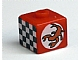 Gear No: bead004pb054  Name: Bead, Square with Scorpion and Checkered Flag Pattern (from P1518)