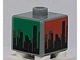 Gear No: bead004pb081  Name: Bead, Square with City Skyline on Blue, Green, Red and Yellow Background Pattern