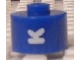 Gear No: bead029pb063  Name: Bead, Cylinder, Flat Edge with White 'K' Pattern