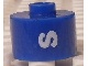 Gear No: bead029pb071  Name: Bead, Cylinder, Flat Edge with White 'S' Pattern