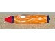 Gear No: penbody006pb01  Name: Bead, Pen Body with Dark Blue Ends, Red Tip, and Light Orange Lattice Pattern