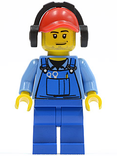 Headset with Red-Brown Hair Lego Minifigure HEAD Yellow Space City Town Man